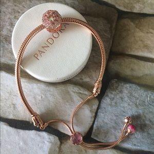 Pandora rose charm bracelet w charm